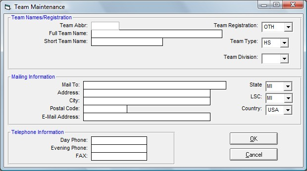 Add or Edit Teams